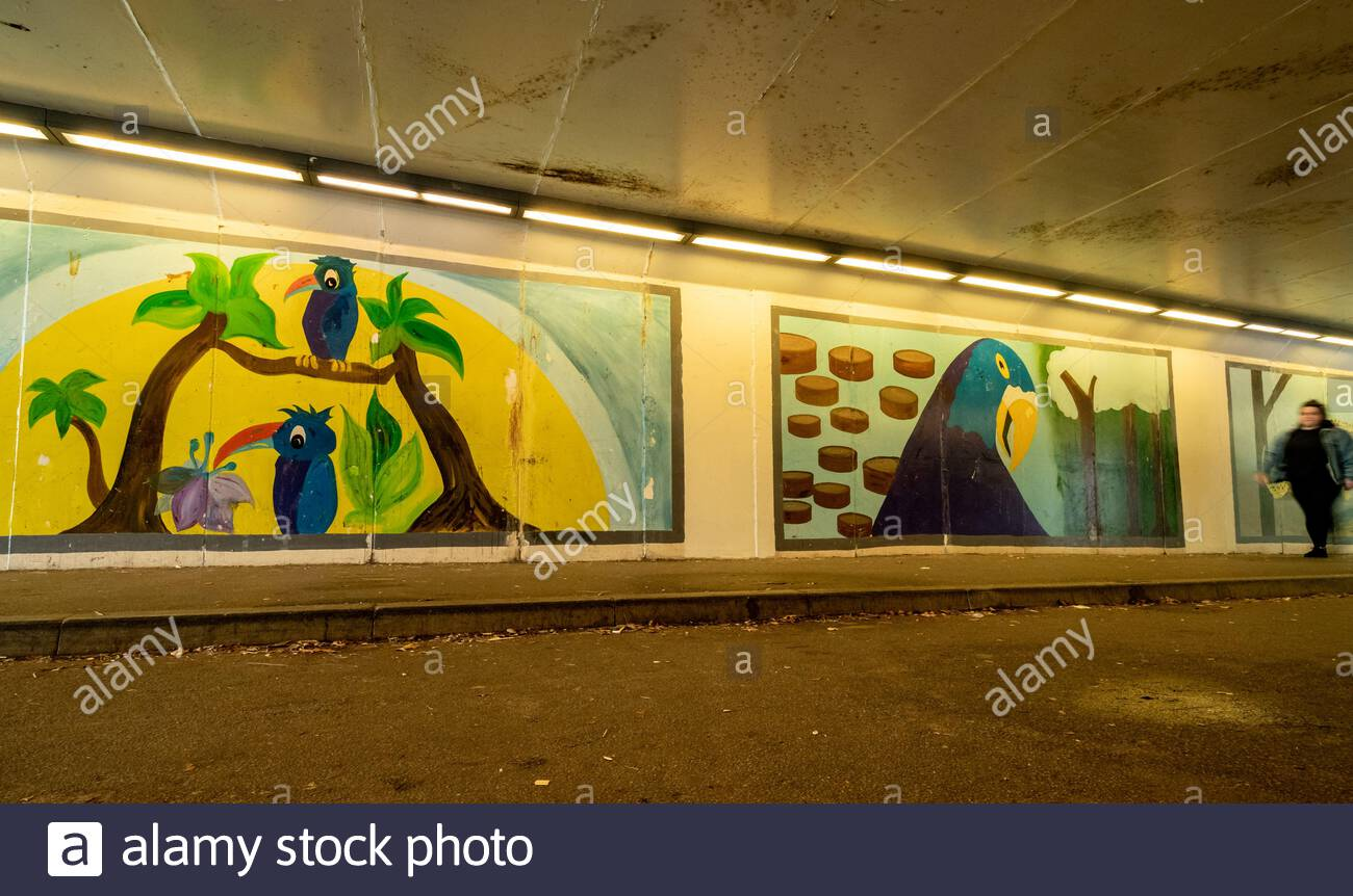 Colourful wall paintings or street art in a subway or underpass in Aldershot town, Hampshire, UK Stock Photo