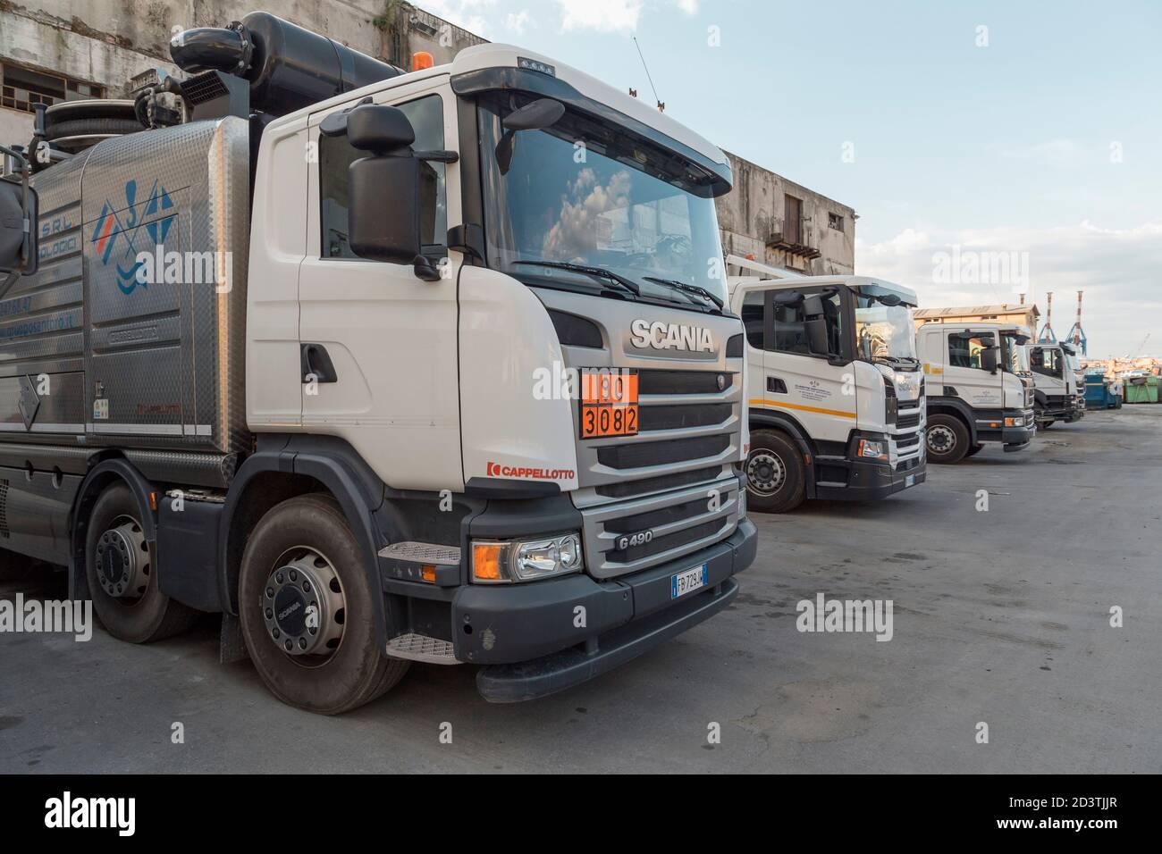 Septic truck, Genoa, Liguria, Italy, Europe Stock Photo