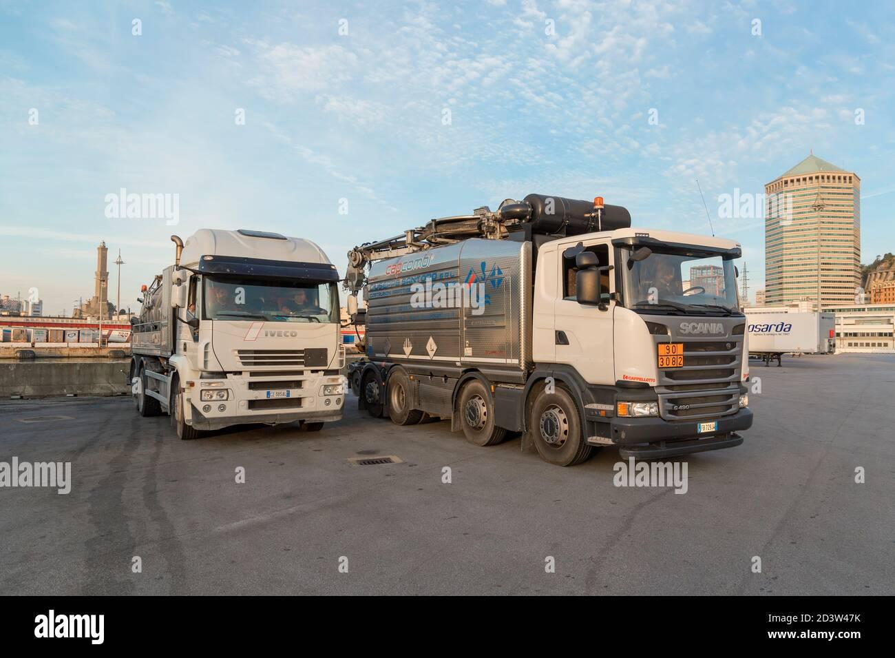 Trucks, Genoa, Liguria, Italy, Europe Stock Photo