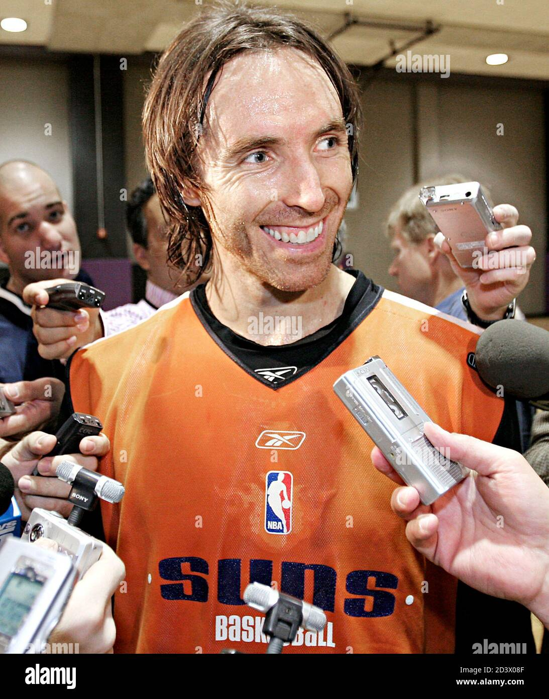 Phoenix Suns Guard Steve Nash Talks To Reporters About Being Named The Winner Of The Maurice Podoloff Trophy As The Nba S Most Valuable Player After The Team S Practice In Phoenix Arizona May
