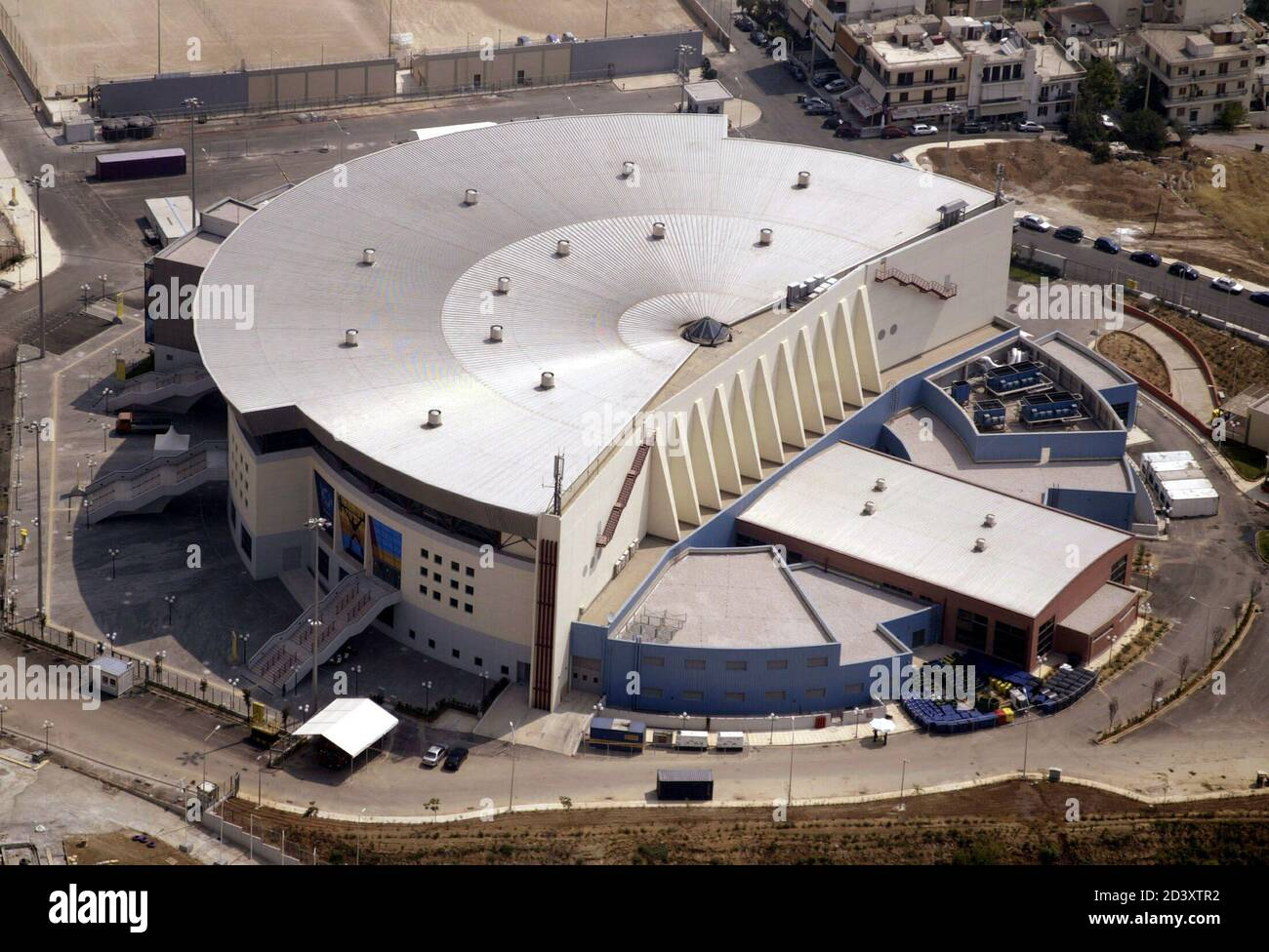 An aerial view of Nikaia Olympic Weightlifting hall at Athens' Nikaia  suburb July 24, 2004. The 5,000 seat stadium will host the Weightlifting  event duirng the Olympics and is located some 29