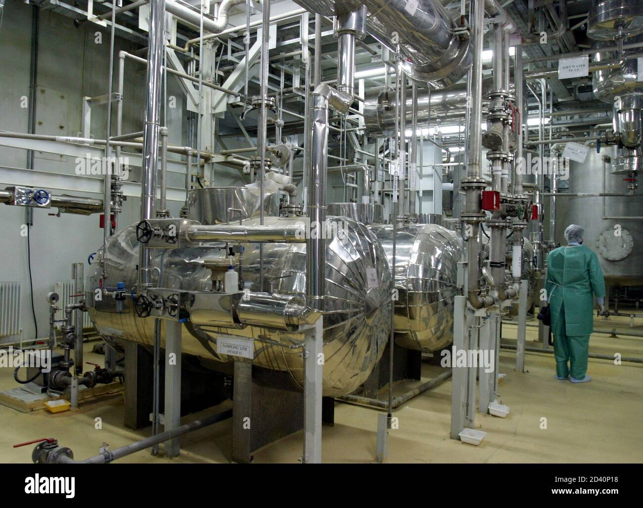 An inside view of a Uranium Conversion Facility producing unit in Isfahan, 340 km (211 miles) south of Tehran, March 30, 2005. [France, Britain and Germany] are considering letting Iran keep nuclear technology that could be used to make bombs, an apparent move towards a compromise with Tehran, diplomats said on Wednesday. Stock Photo