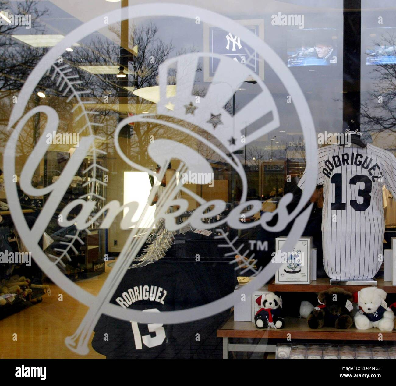 A Window Display At The New York Yankees Official Team Store At Yankee Stadium Shows A Baseball Jersey Of Their Newest Player Alex Rodriguez In New York February 15 2004 Rodriguez Donned
