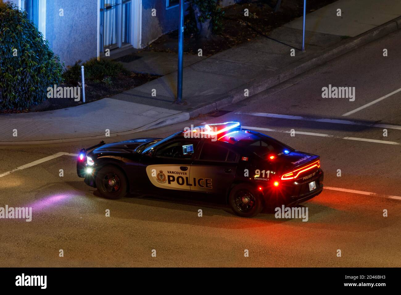 Vancouver, Canada - Circa 2020 : Vancouver Police Cruiser with lights flashing Stock Photo