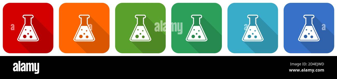 Science, laboratory, chemistry icon set, flat design vector illustration in 6 colors options for webdesign and mobile applications Stock Vector