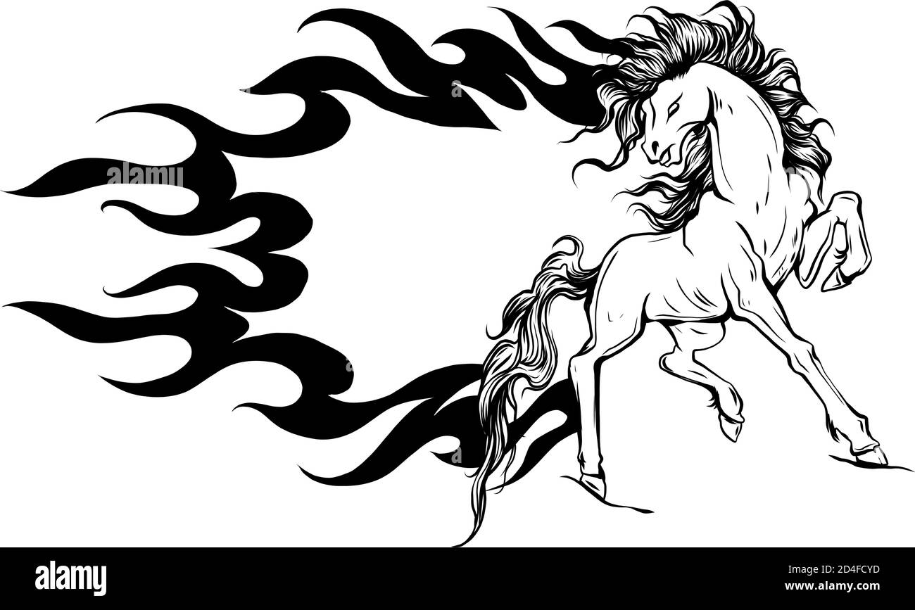 Vector Illustration Silhouette Of A Running Horse Stock Vector Image Art Alamy