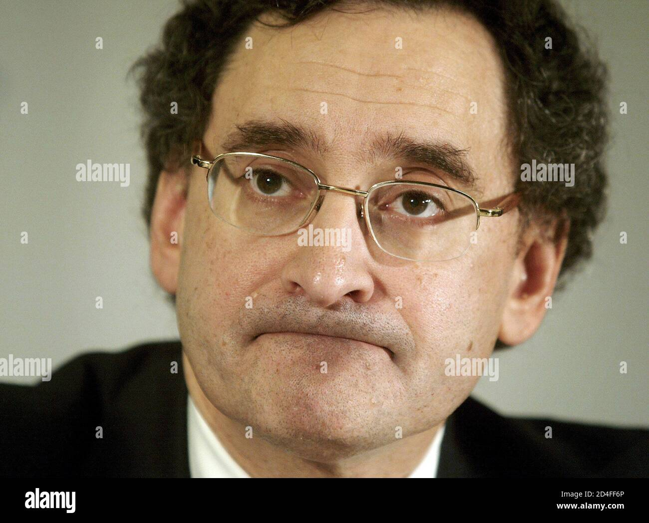 Bell Canada Enterprises President and Chief Executive Officer Michael Sabia contemplates a question during the press conference May 29, 2002. The press conference was held after Bell Canada Enterprises' Annual Meeting of the Shareholders in Montreal. Stock Photo