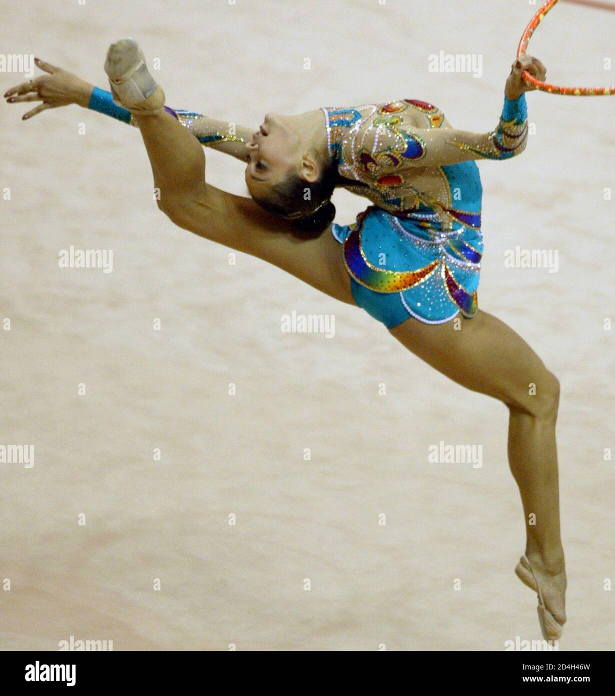 IRINA FROM RUSSIA PERFORMS DURING THE RYTHMIC GYMNASTICS OF THE 22ND SUMMER UNIVERSIADE GAMES IN KYEONGJU. Stock Photo