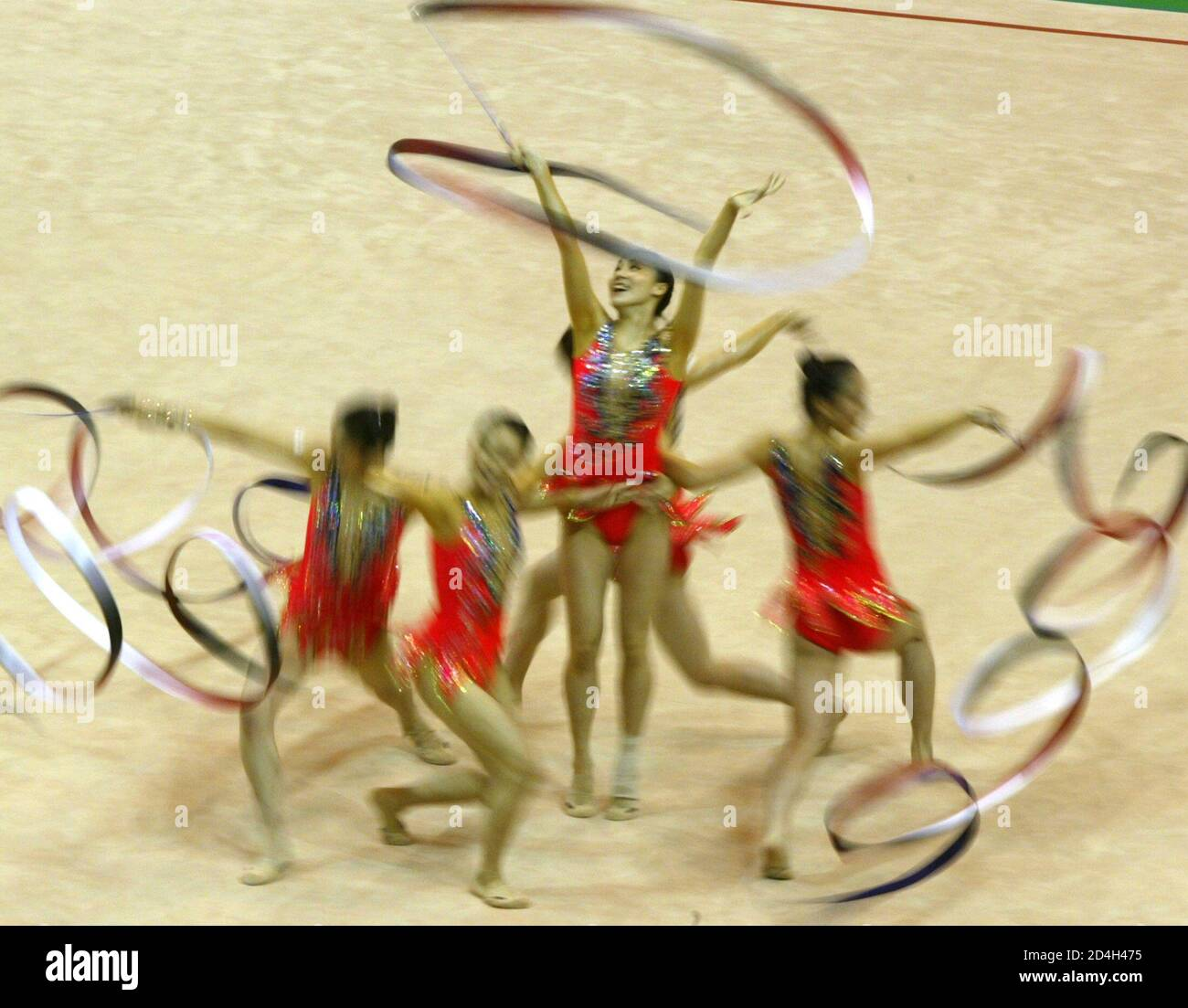 JAPANESE PLAYERS PERFORM DURING THE FINAL OF RHYTHMIC GYMNASTICS AT THE UNIVERSIADE GAMES IN KYEONGJU. Stock Photo