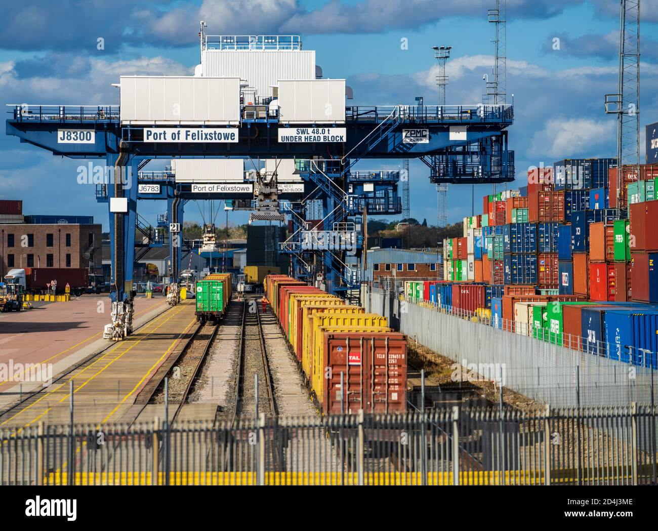 Rail Freight UK - Intermodal Containers being loaded onto freight trains in Felixstowe Port, the UK's largest container port. Stock Photo