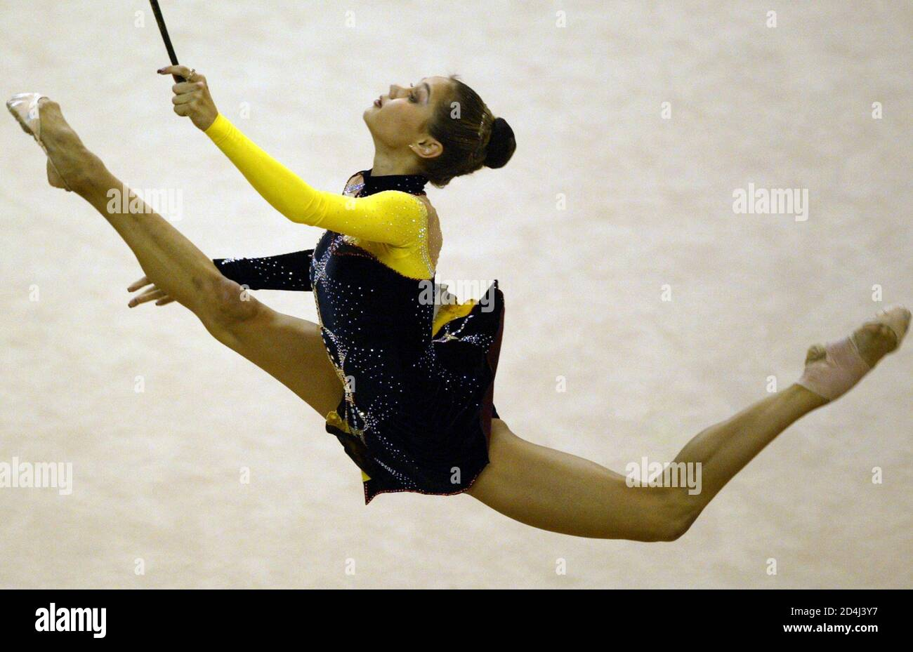IRINA CHASHCHINA PERFORMS DURING THE FINAL OF RHYTHMIC GYMNASTICS AT THE UNIVERSIADE GAMES IN KYEONGJU. Stock Photo