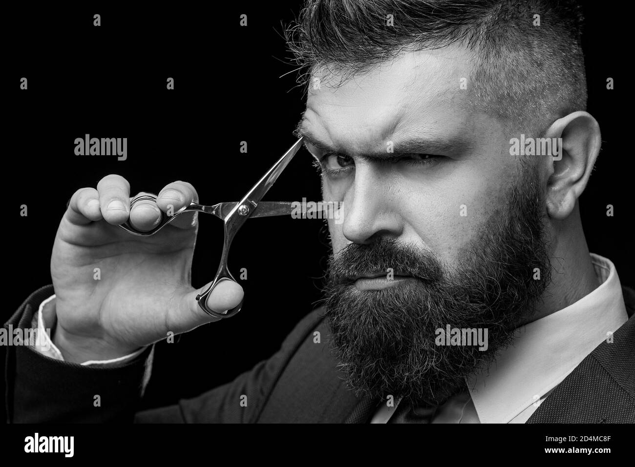 Perfect Beard Haircuts For Men Stylish And Hairstyle Hair Salon And Barber Vintage Barber Shop Barber On Black Background With Scissors Stock Photo Alamy