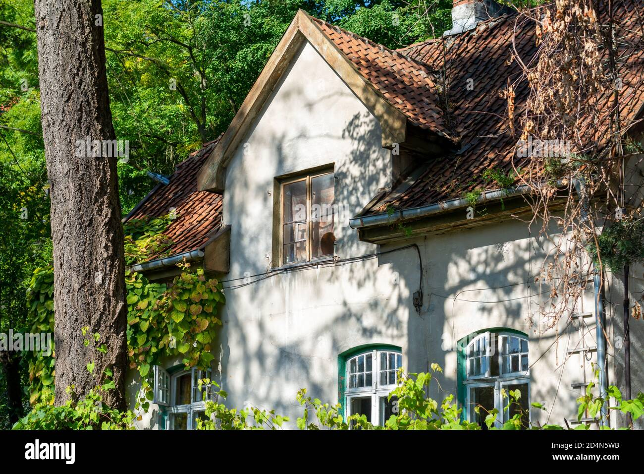 19th century house with tiled roof window. Front facade details, Beautiful old cottage in the forest. Stock Photo