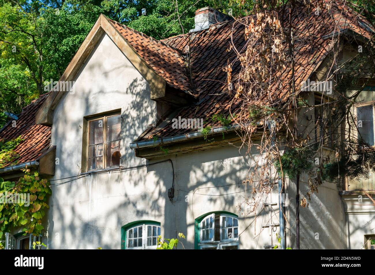 Tiled roof of an old house from the 19th century. Wooden windows without restoration on the facade of a cottage in the forest. Stock Photo
