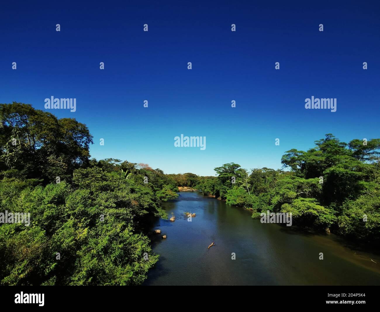 View upriver of the Cuiaba river, Mato grosso, Brazil Stock Photo