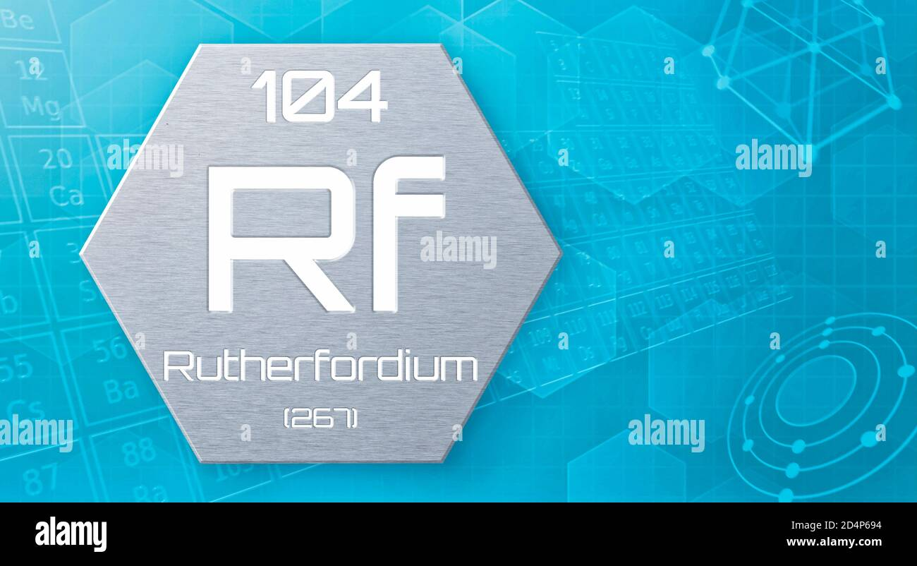 Chemical element of the periodic table - Rutherfordium Stock Photo