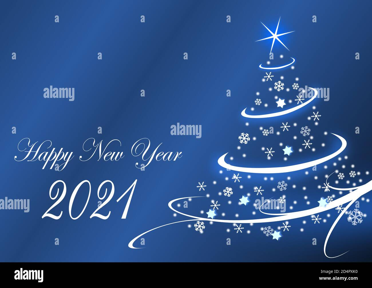 happy new year 2021 greeting card with christmas tree on