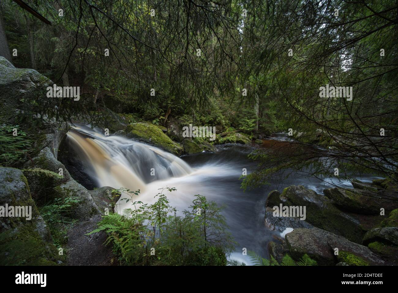 beautiful waterfall in the black forest germany, the name is Krai Woog Gumpen near herrischried. Stock Photo