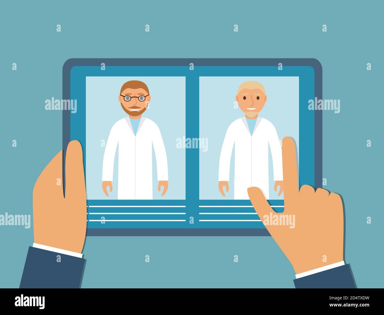 Online doctor. Mobile application of clinic. The Internet consultation for sick people. Stock Vector