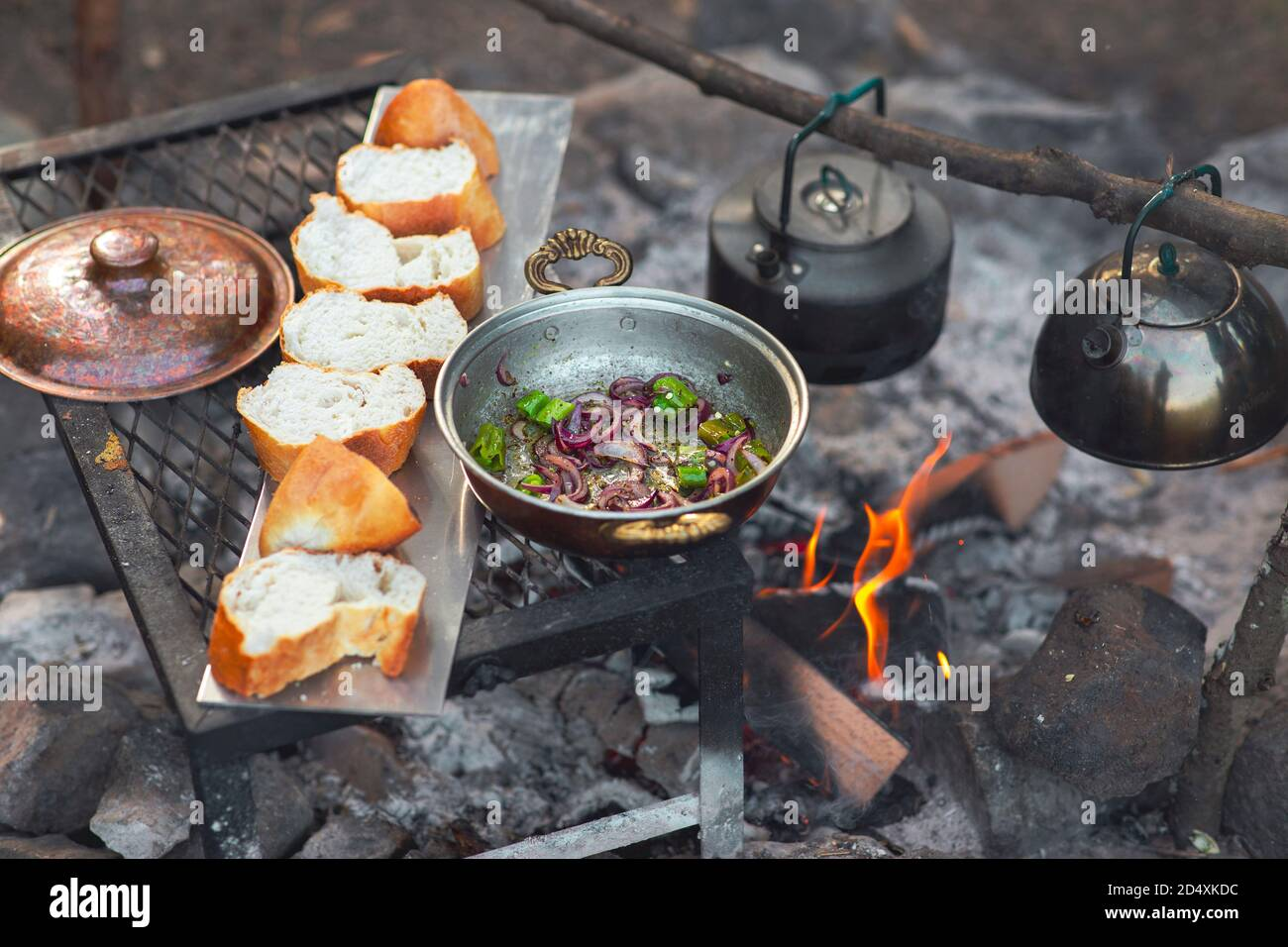 Detail view of camp fire cooking, breads are in a row, a tea pot and onion pan is on the fire with copy space Stock Photo