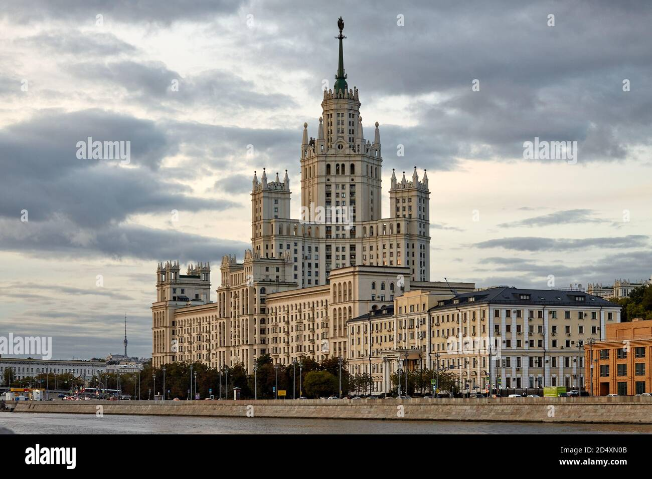 Moscow / Russia - September 11, 2020: Most famous residential building known as the Stalinskaya Visotka Stock Photo