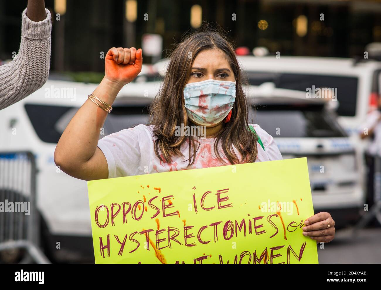 New York City, United States. 11th Oct, 2020. Af3irm is a national group of women fighting anti imperialism and anti oppression in all it's form. Today a small group of women held a demonstration calling attention to the end of the historical theft of reproduction of women of color, hysterectomies on immigrate women, and the confirmation of U.S. Supreme Justice Amy Coney Barrett. (Photo by Steve Sanchez/Pacific Press) Credit: Pacific Press Media Production Corp./Alamy Live News Stock Photo
