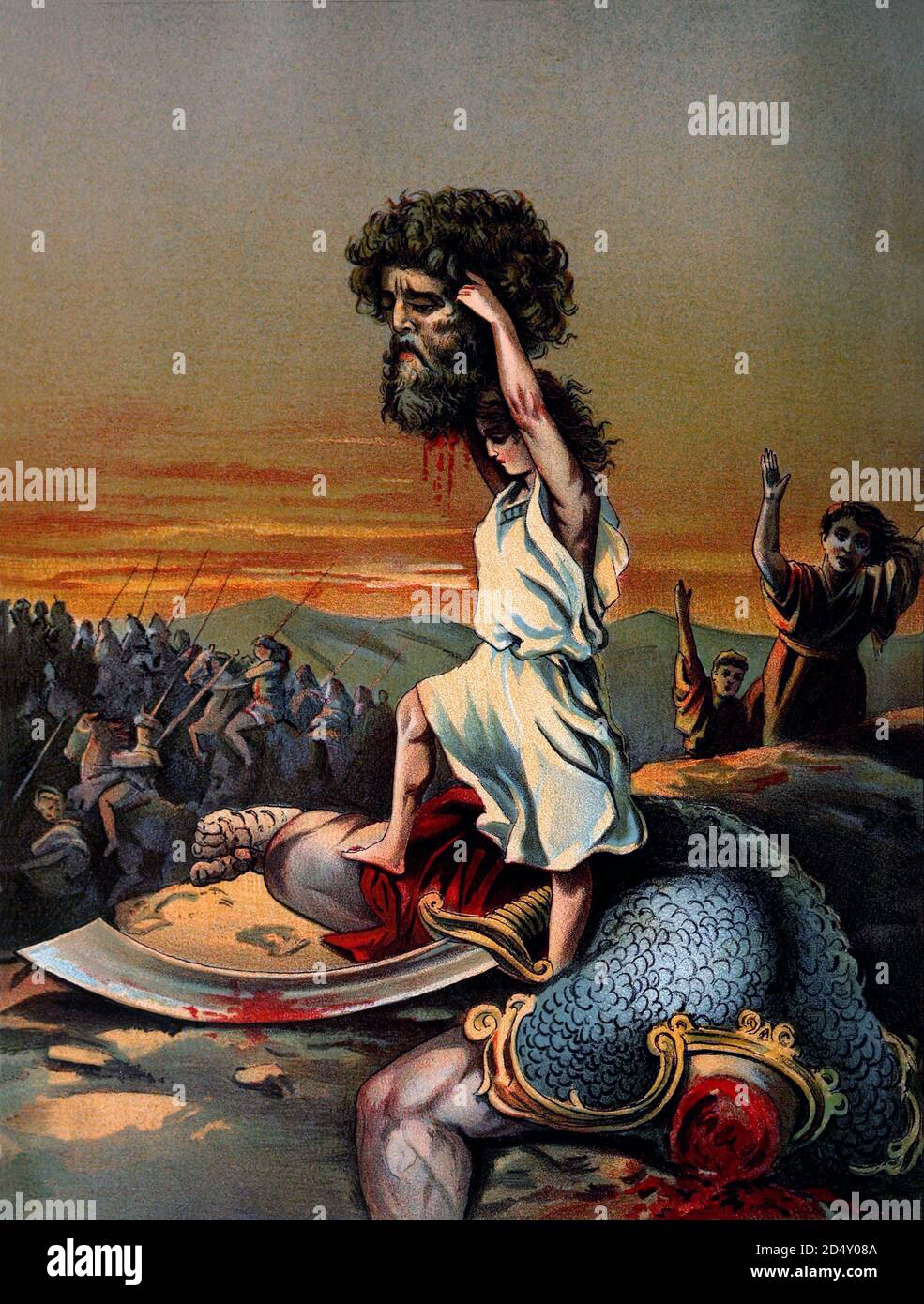 """1020 BCE c. , ISRAELE : The jewish KING DAVID ( 1010 c.- 970 BC ) with the beheaded head of giant GOLIATH. David was the author of psalms and is described in the Hebrew Bible as the 3th king of the United Monarchy of Israel and Judah . Lithographic illustration , pubblished in book """" Sweet stories of God """" by Josephine Pollard ( 1899 ) . Jesus Christ is described as being descended from David in the Gospels of Matthew and Luke . - NOBILITY - NOBILI - RE DAVIDE - GIGANTE GOLIA - ISRAELE - OLD TESTAMENT - VECCHIO TESTAMENTO - BIBBLIA - BIBBLE - EBREO - POPOLO EBRAICO - illustrazione - illustrati Stock Photo"""