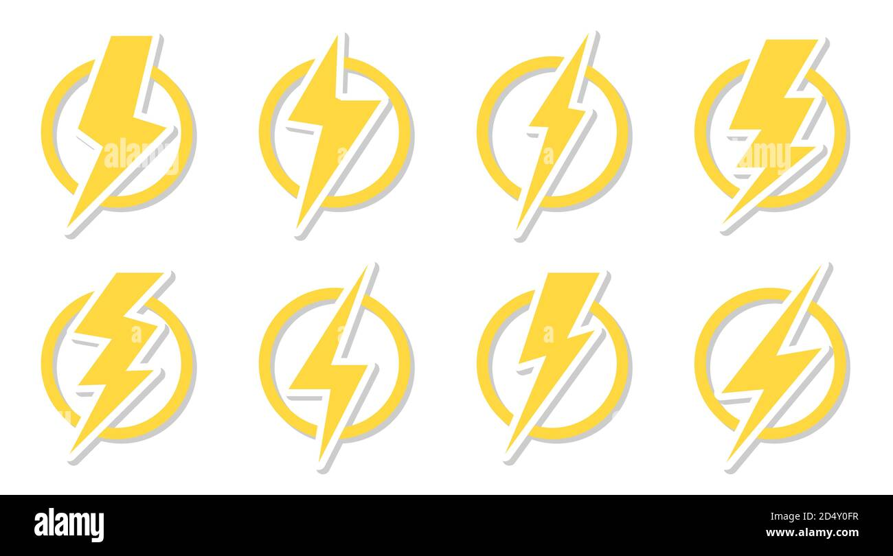 Yellow lightning bolt icon set. Electrical strike sign sticker in ...