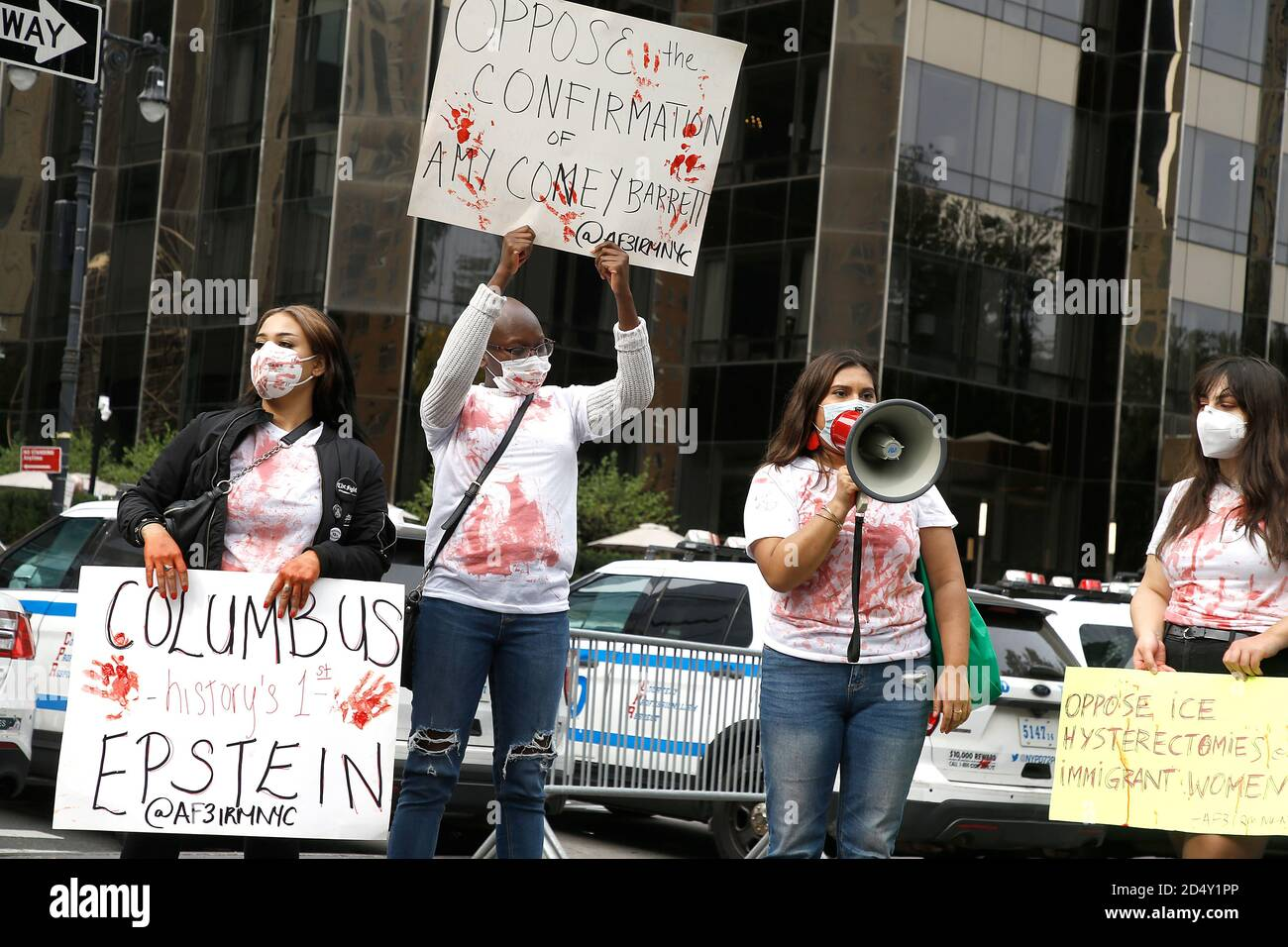 New York, United States. 11th Oct, 2020. Demonstrators speaks on a megaphone in Central Park in protest of the Supreme Court nominee, Amy Coney Barrett, violence against women and forced hysterectomies of immigrant women. Credit: SOPA Images Limited/Alamy Live News Stock Photo
