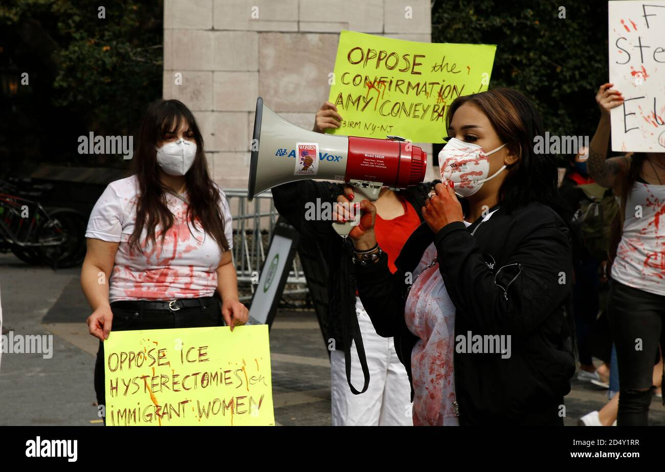 New York, United States. 11th Oct, 2020. Demonstrators hold up placards in Central Park in protest of the Supreme Court nominee, Amy Coney Barrett, violence against women and forced hysterectomies of immigrant women. Credit: SOPA Images Limited/Alamy Live News Stock Photo