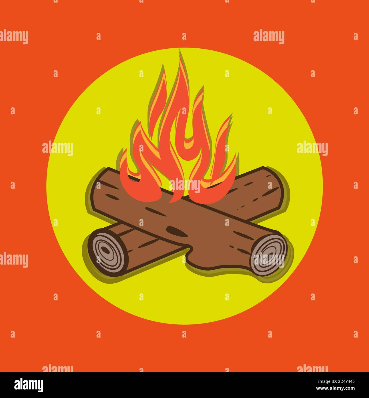 Campfire vector cartoon style illustration - Crossed logs and fire flames on an Orange background. Stock Vector