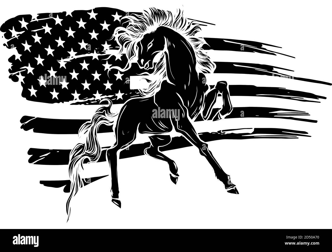 Grunge Flag Background Wild Horse Vector Illustration Black Silhouette Stock Vector Image Art Alamy