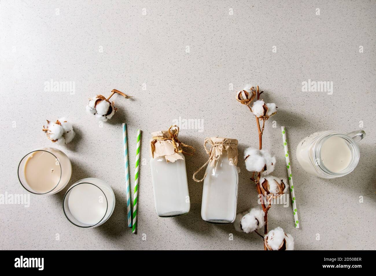 Variety of non-dairy vegan lactose free nuts and grain milk almond, hazelnut, coconut, rice, oat in glass bottles with cotton flowers over white spott Stock Photo