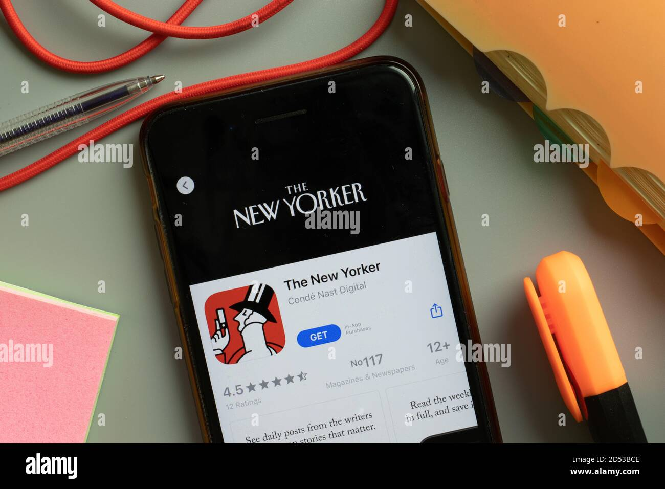 New York, USA - 29 September 2020: The New Yorker mobile app logo on phone screen close up, Illustrative Editorial Stock Photo