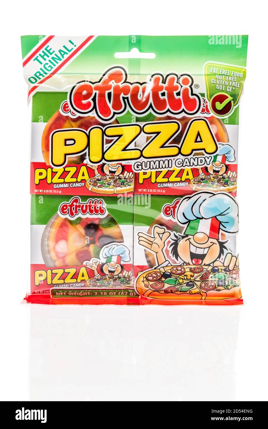 Winneconne, WI - 6 October 2020:  A package of efrutti pizza gummi candy on an isolated background. Stock Photo