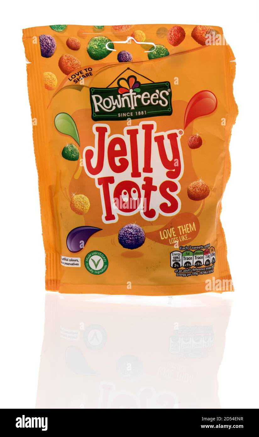 Winneconne, WI - 6 October 2020:  A package of Rowntrees jelly tots candy on an isolated background. Stock Photo