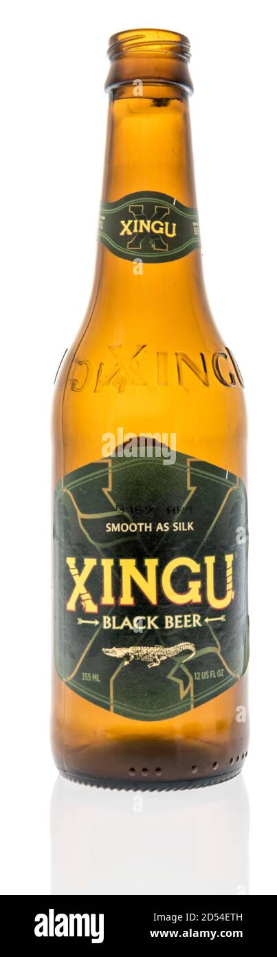 Winneconne, WI - 6 October 2020:  A bottle Xingu black beer on an isolated background. Stock Photo