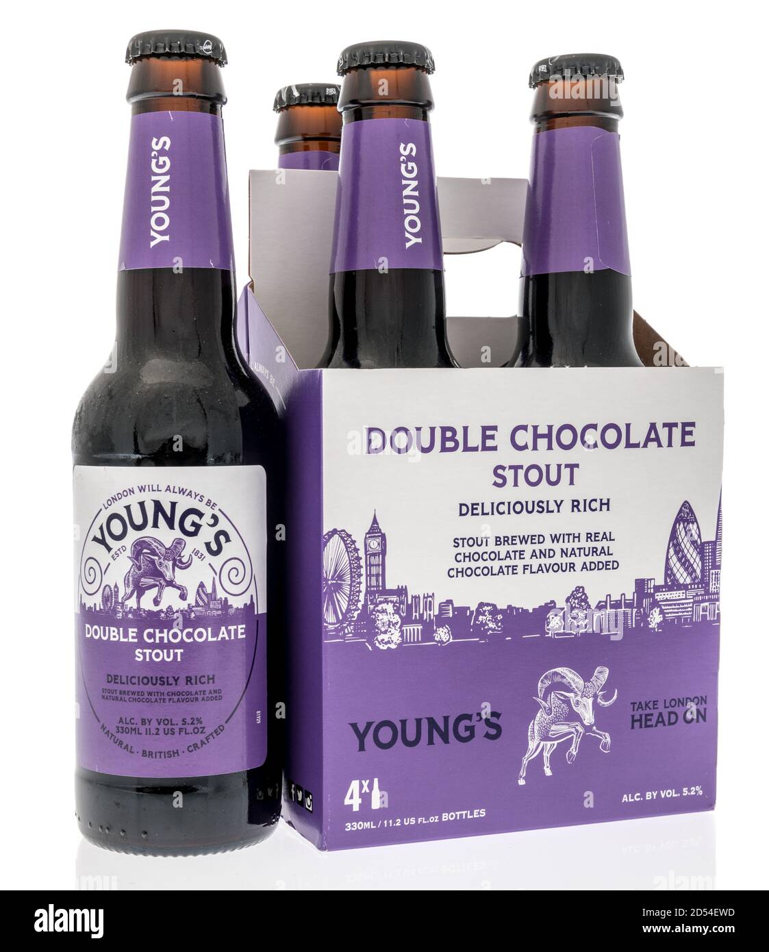Winneconne, WI - 6 October 2020:  A four pack of Double chocolate stout beer on an isolated background. Stock Photo