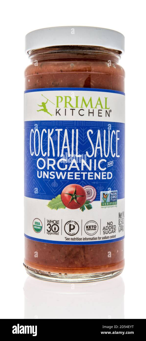 Winneconne, WI - 6 October 2020:  A bottle of Primal Kitchen cocktail sauce on an isolated background. Stock Photo