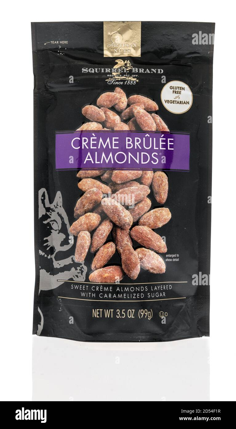 Winneconne, WI - 6 October 2020:  A package of Squirrel creme brulee almonds on an isolated background. Stock Photo