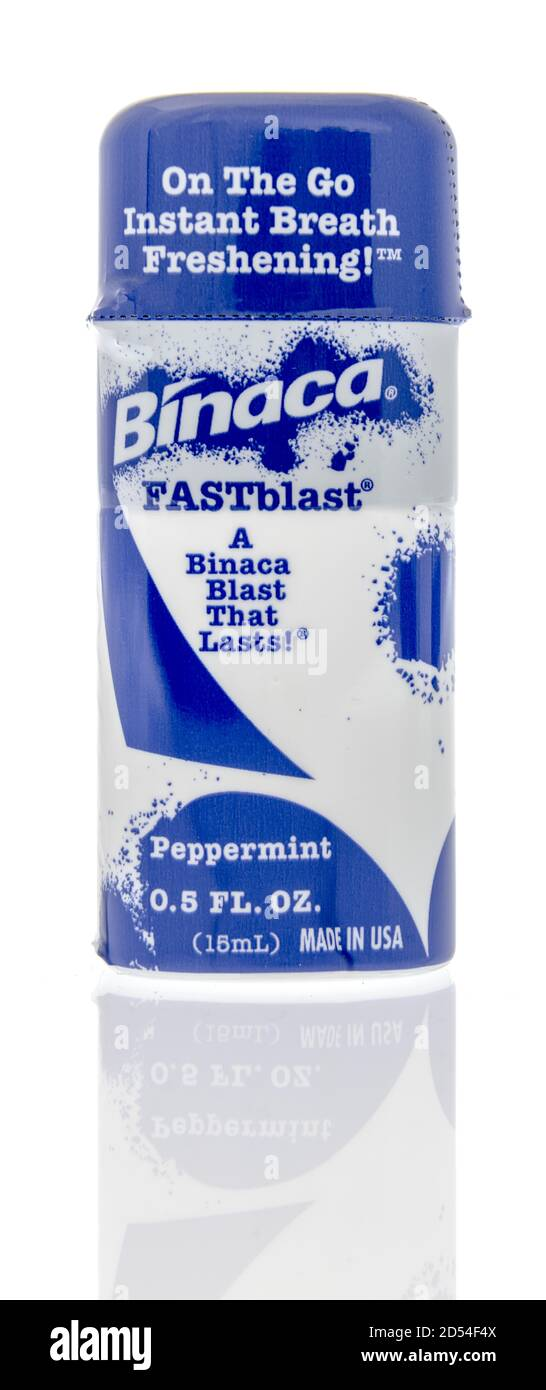 Winneconne, WI - 6 October 2020:  A tube of Binaca fastblast instant breath freshening spray on an isolated background. Stock Photo