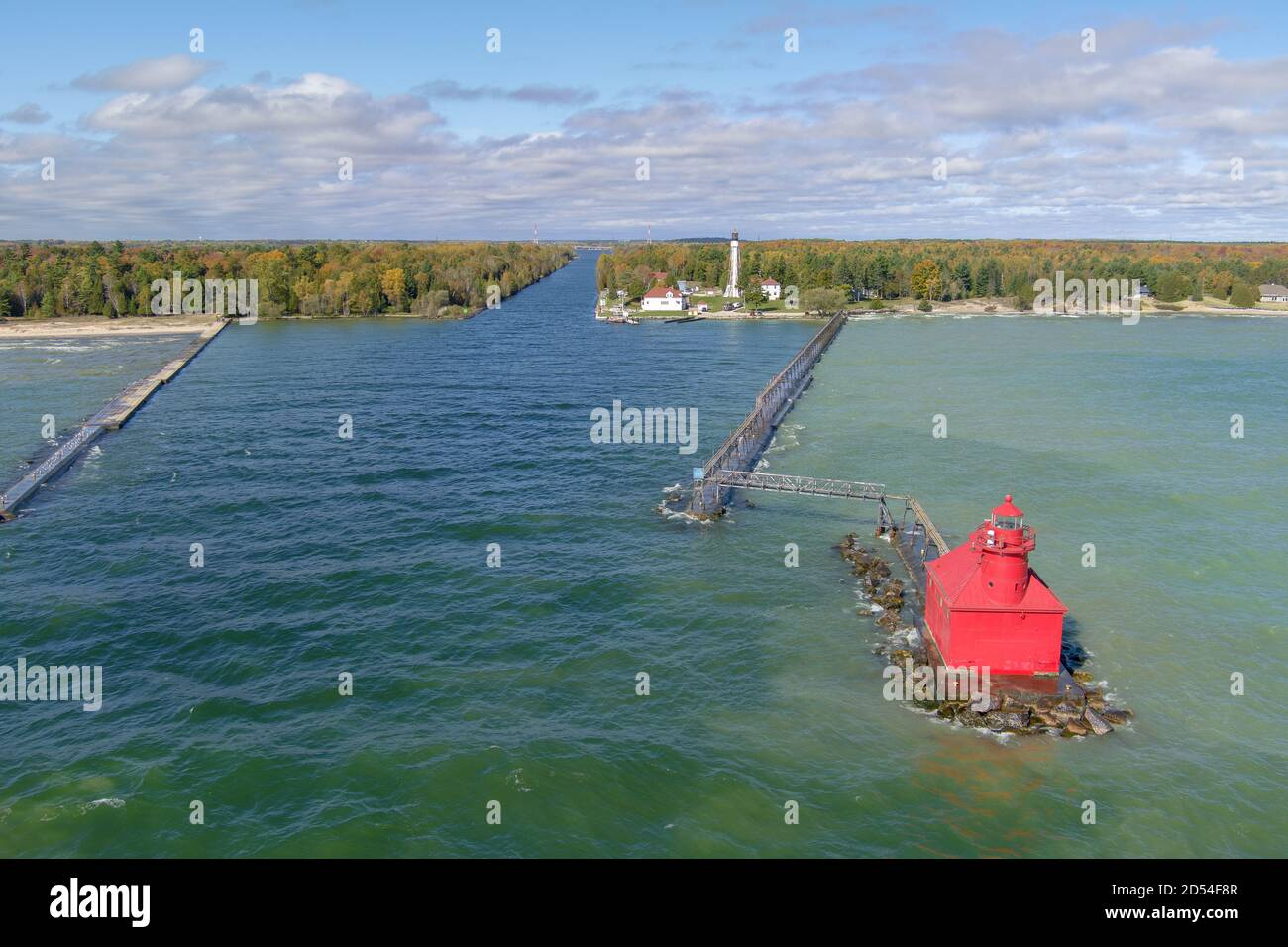 A drone image of a lighthouse in Sturgeon Bay Door County Wisconsin during fall and autumn colors. Stock Photo