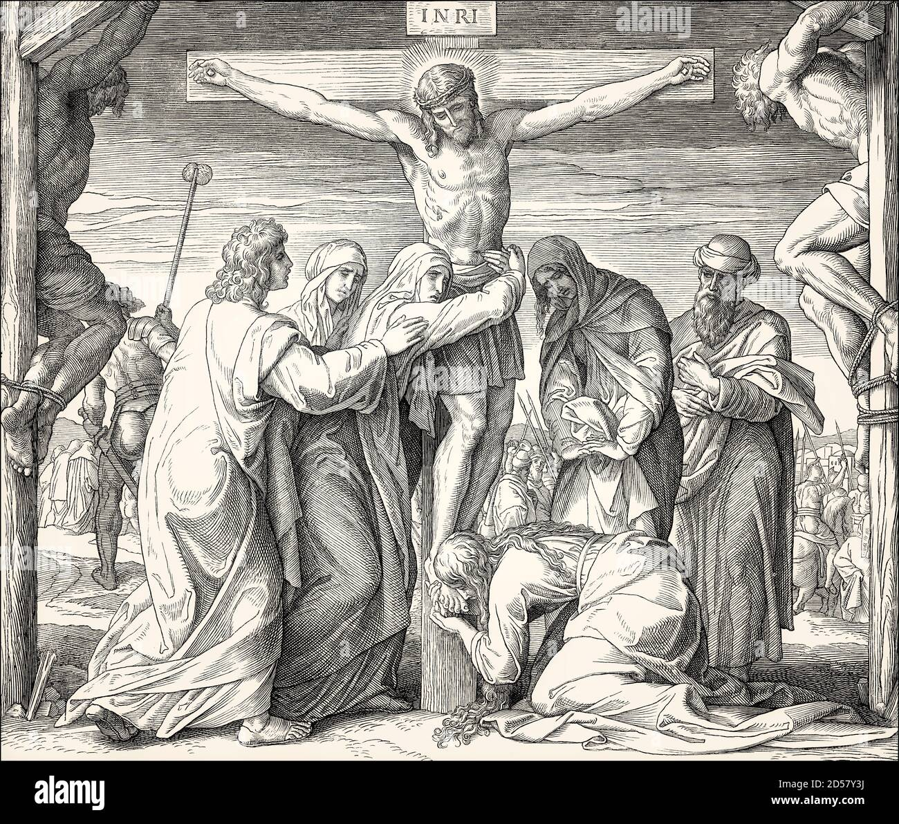 The Crucifixion of Jesus, by Julius Schnorr von Carolsfeld, 1860 Stock Photo