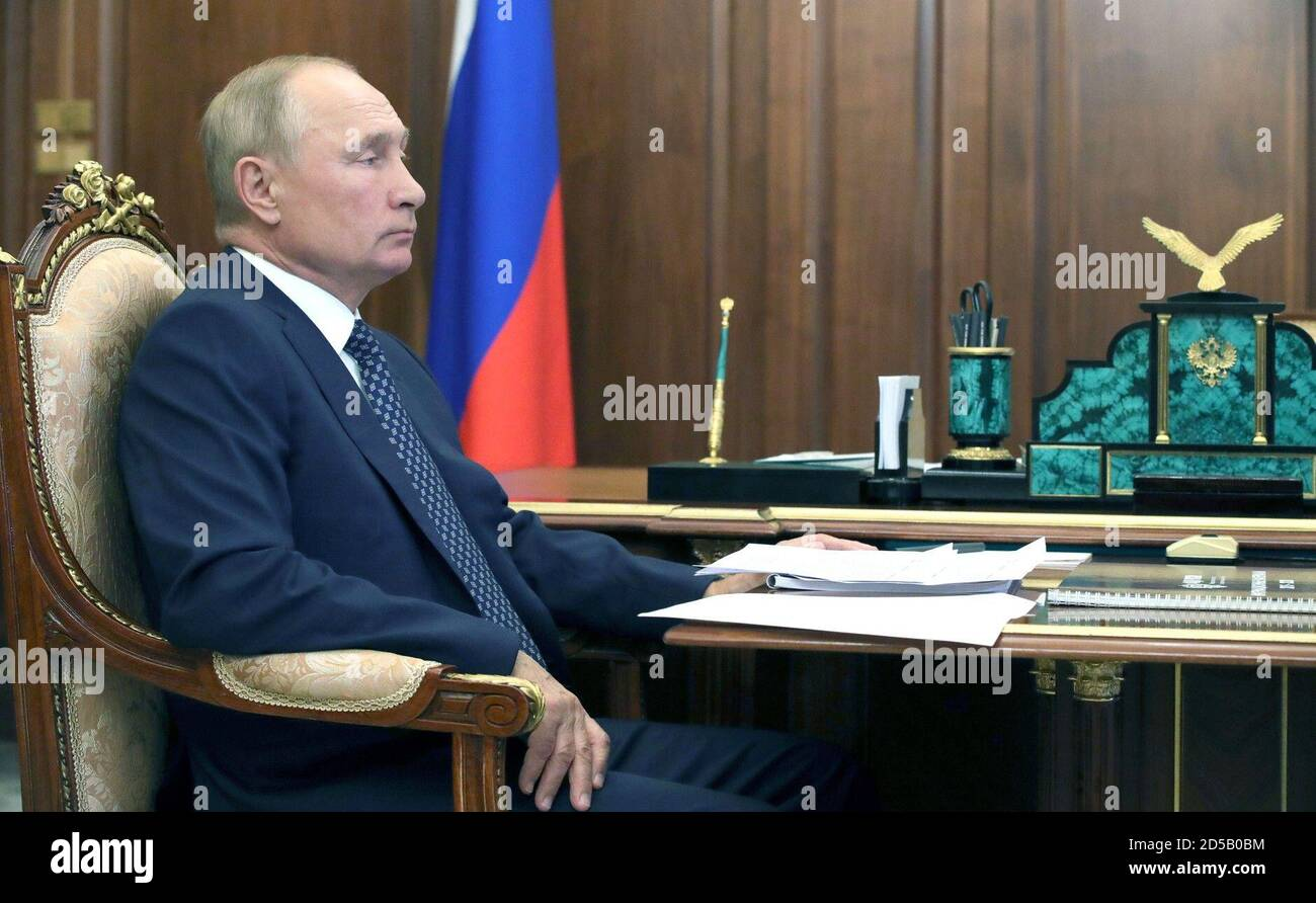 October 13 2020 Russia Moscow Russian President Vladimir Putin During A Meeting With Igor Barinov Head Of The Russian Federal Agency For Ethnic Affairs At The Moscow Kremlin Stock Photo Alamy