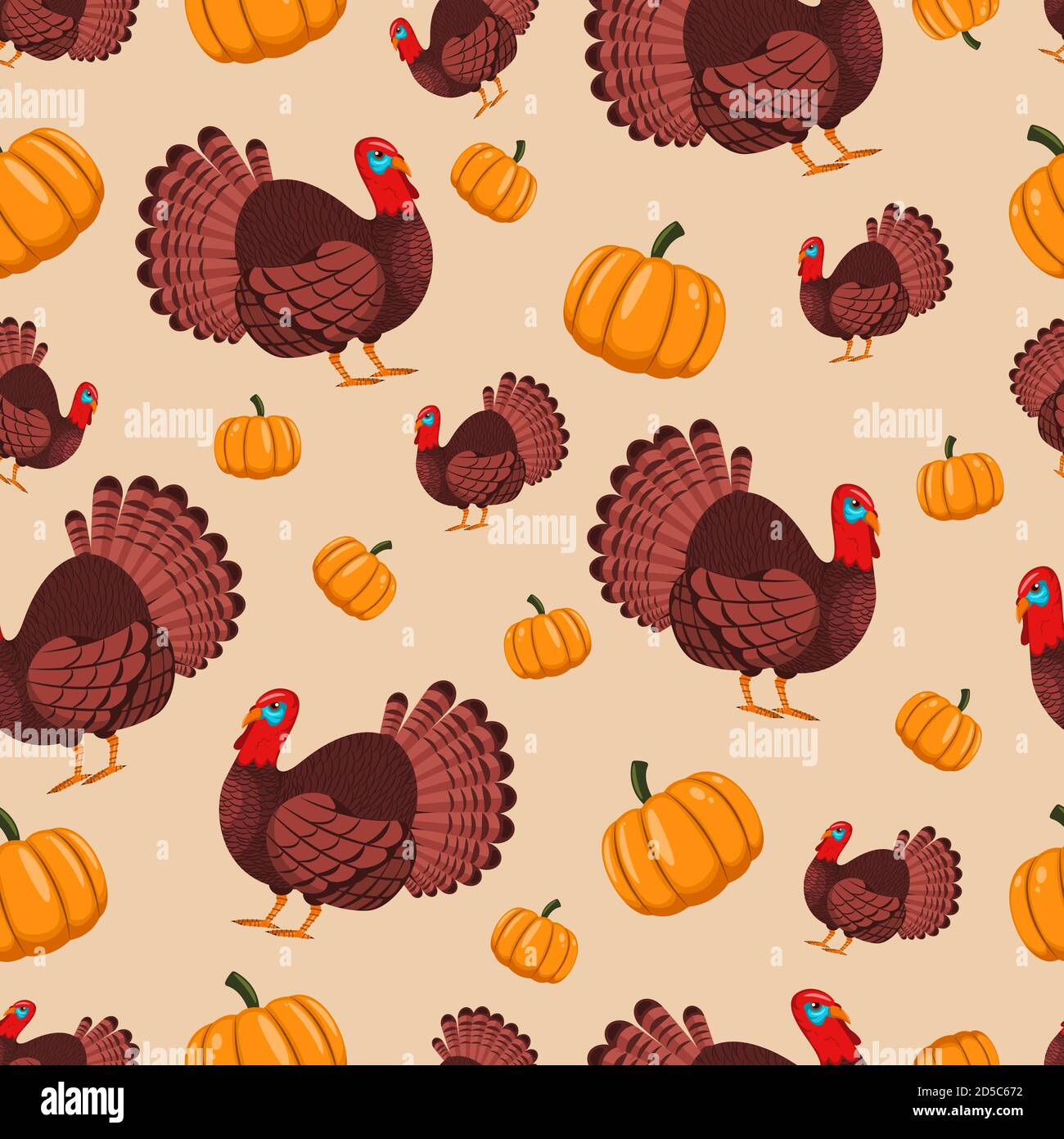 Turkey bird and pumpkin vector seamless pattern for holiday Thanksgiving. Cartoon background for wallpaper, wrapping, packing, and backdrop. Stock Vector
