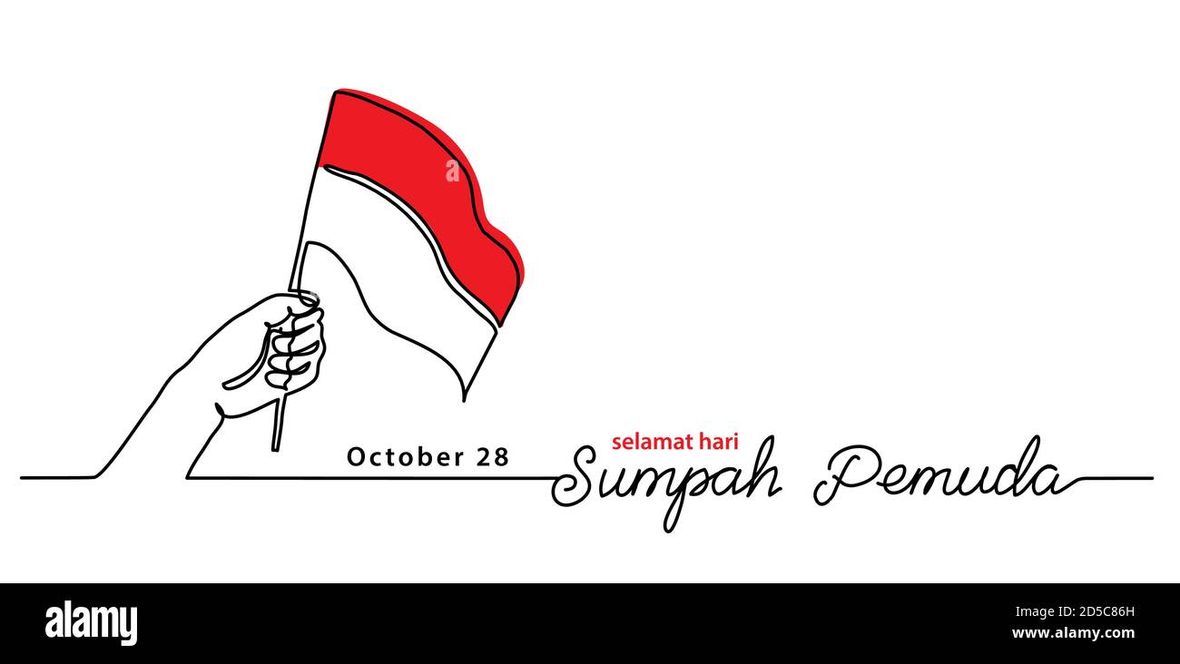 Selamat hari Sumpah pemuda, Happy Indonesian Youth Pledge day, simple vector banner, poster, background with flag and hand. Single line art Stock Vector