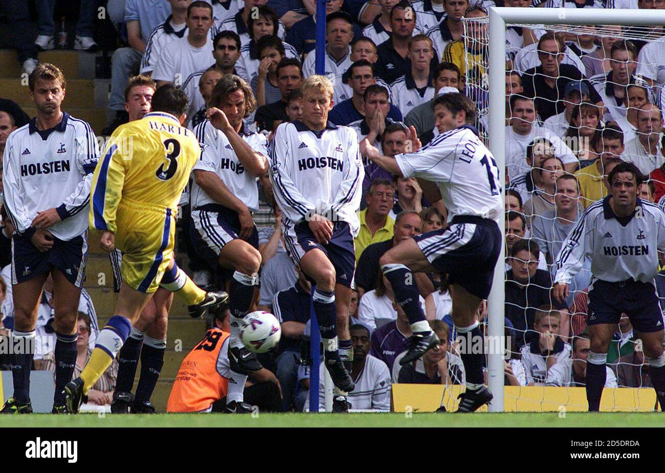 Leeds United player Ian Harte (3) kicks the ball from a free kick to score  the winning goal against Tottenham Hotspur during their premier league  clash at White Heart Lane August 28.