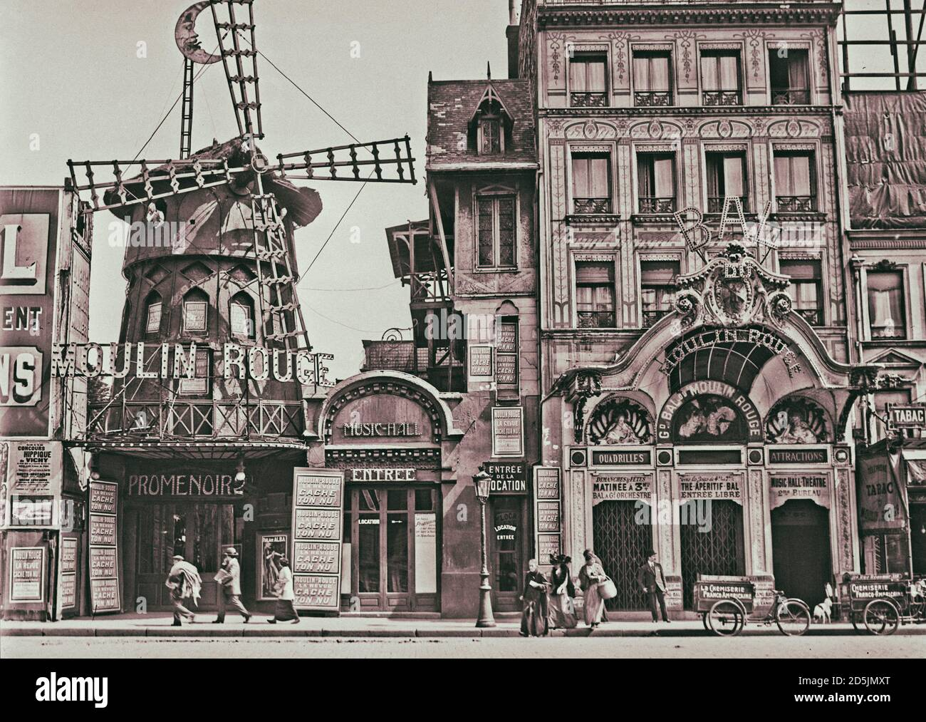 1914 Historic MOULIN ROUGE in Paris PHOTO