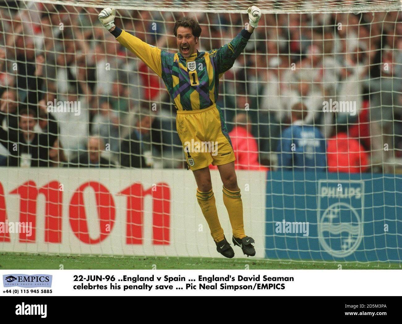 22-JUN-96 ..England v Spain ... David Seaman celebrates his penalty save Stock Photo