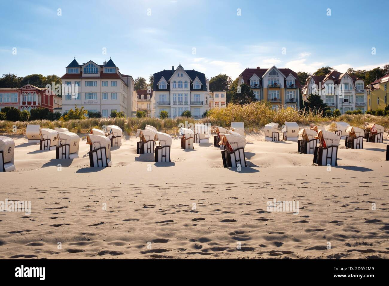 Germany, Usedom, Bansin, hooded beach chairs on the beach Stock Photo